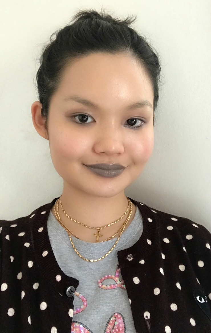 Glossy Matte Gray Lip Everyday Look 2